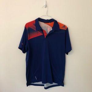 Adidas Men's Climacool Blue and Orange Polo